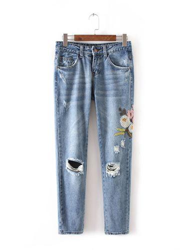 Изображение джинсы ZARA  с вышивкой новая коллекция